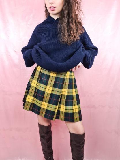 jupe plissée à carreaux jaune vert (5)