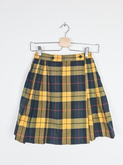 jupe plissée à carreaux jaune vert (6)