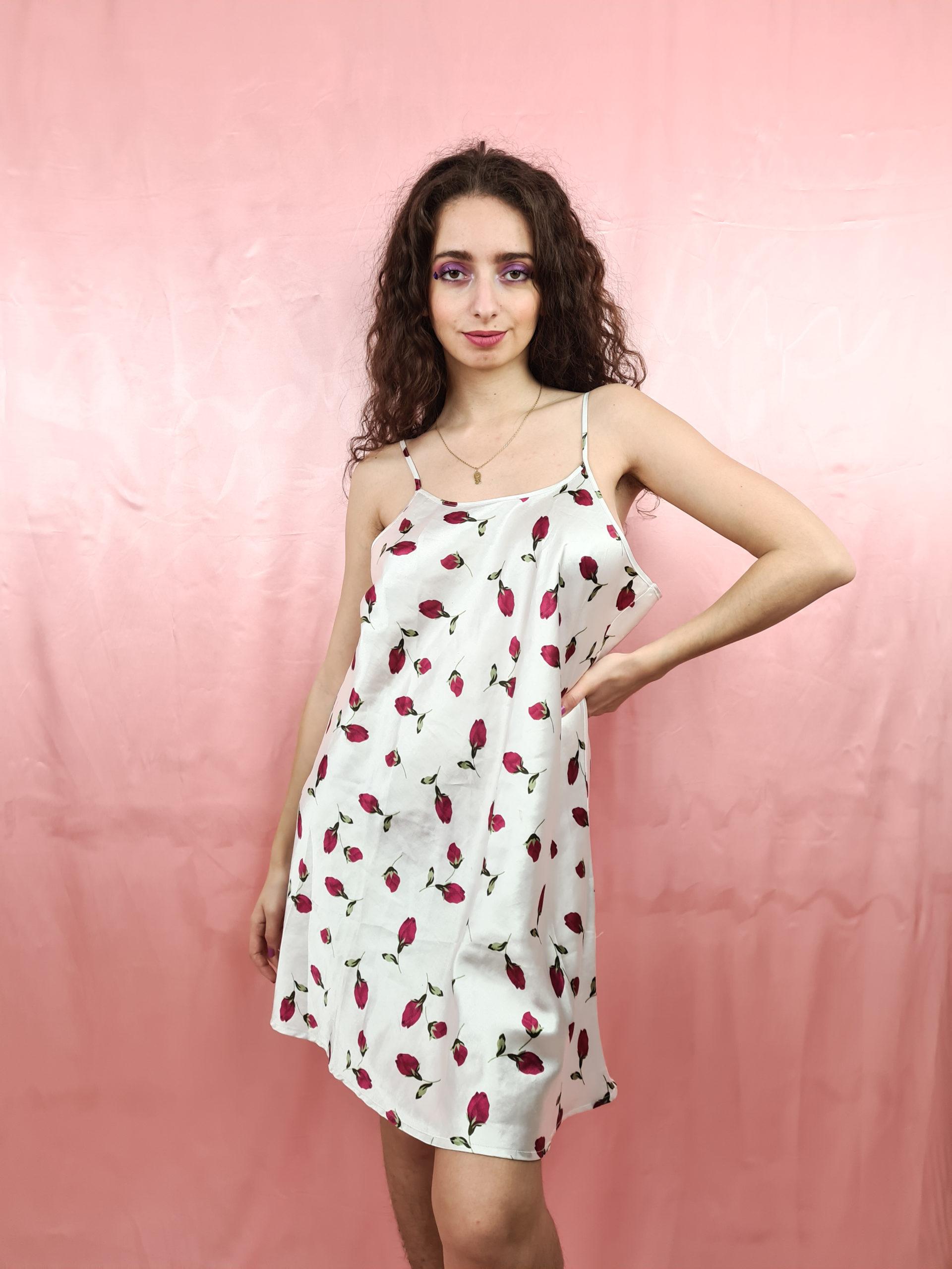 robe nuisette blance motif fleuri (4)
