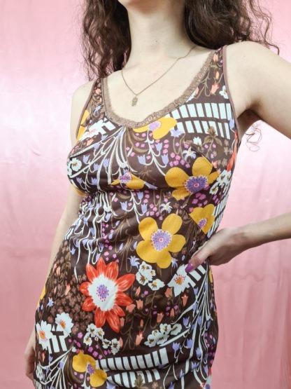 robe nuisette marron motif fleuri (4)