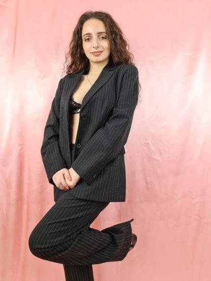 tailleur pantalon lignes verticales blanches (3)