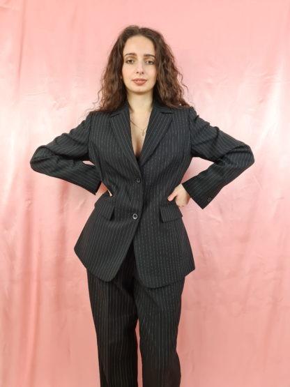 tailleur pantalon lignes verticales blanches (5)