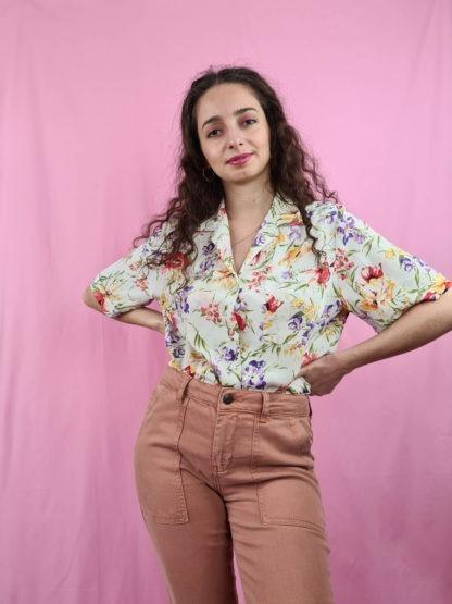 chemise blanche fleuris manches courtes (2)