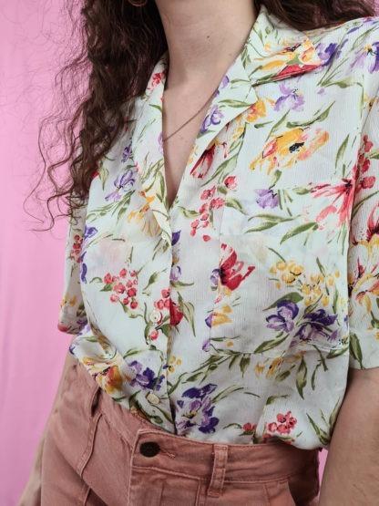 chemise blanche fleuris manches courtes (3)