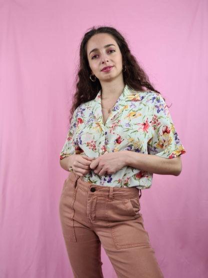chemise blanche fleuris manches courtes (4)