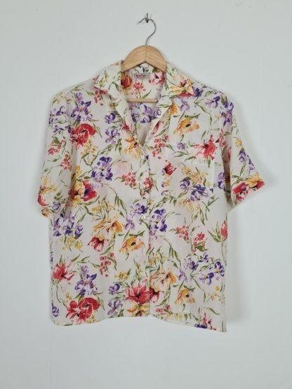 chemise blanche fleuris manches courtes (5)