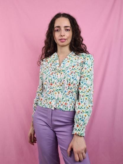 chemise crop blanche motif fleuri vintage (10)