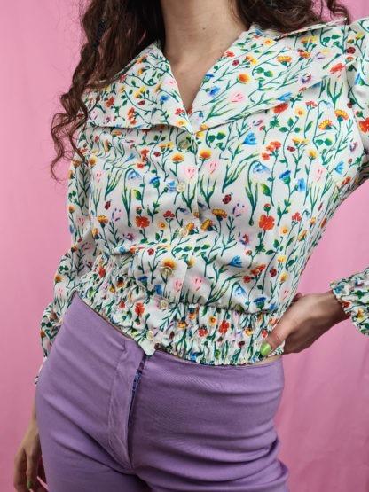 chemise crop blanche motif fleuri vintage (3)