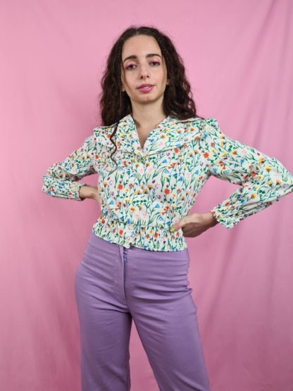 chemise crop blanche motif fleuri vintage (8)