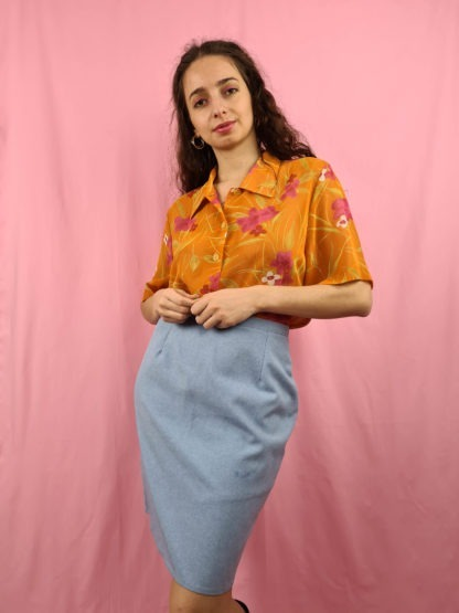 chemise orange fleurie manches courtes (1)