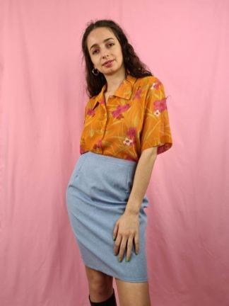 chemise orange fleurie manches courtes (2)