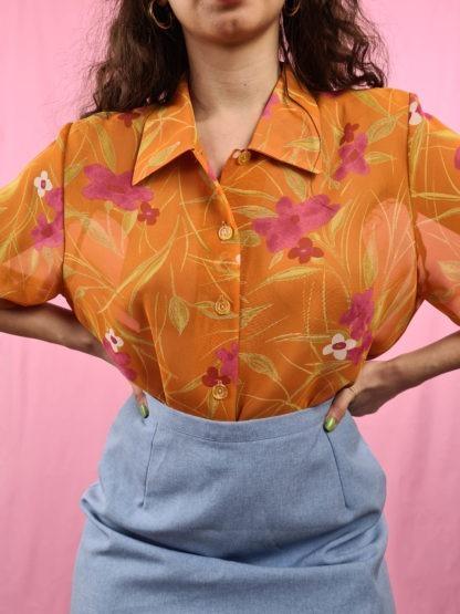 chemise orange fleurie manches courtes (4)