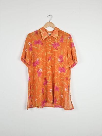 chemise orange fleurie manches courtes (5)