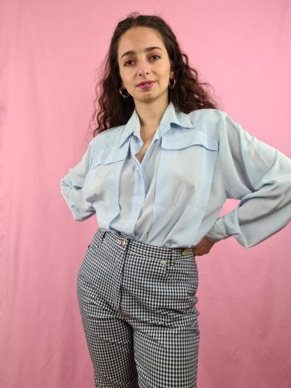 chemise vintage bleue ciel (3)