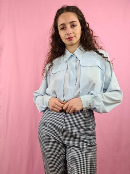 chemise vintage bleue ciel (4)