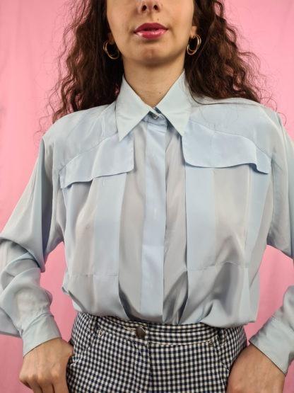 chemise vintage bleue ciel (5)