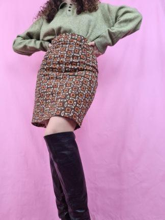 jupe marron à motif 70s (4)