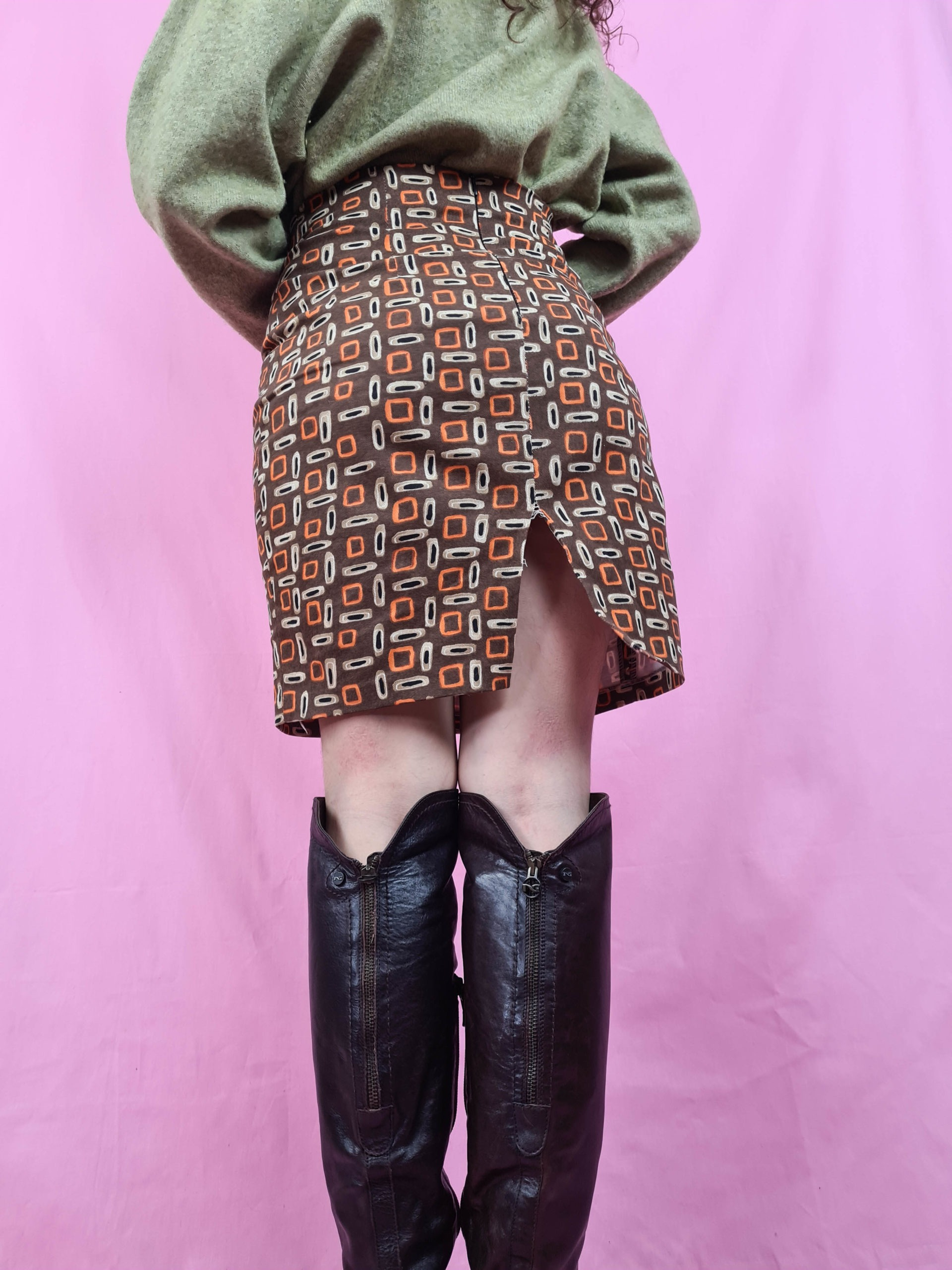 jupe marron à motif 70s (5)