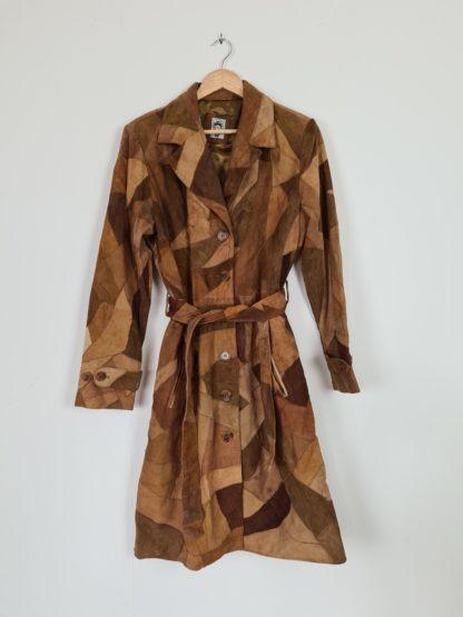 manteau en daim marron patchwork (10)