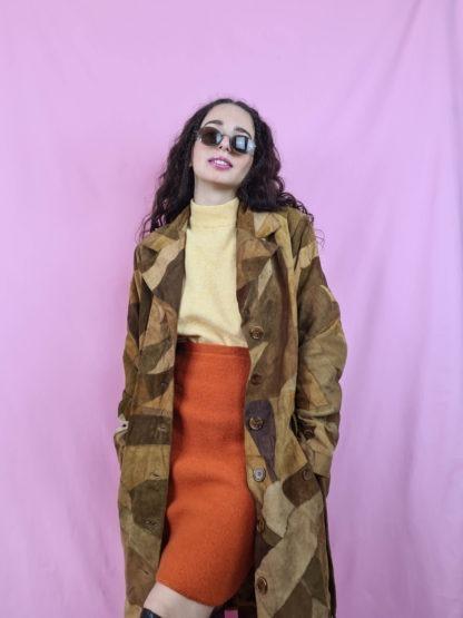 manteau en daim marron patchwork (2)