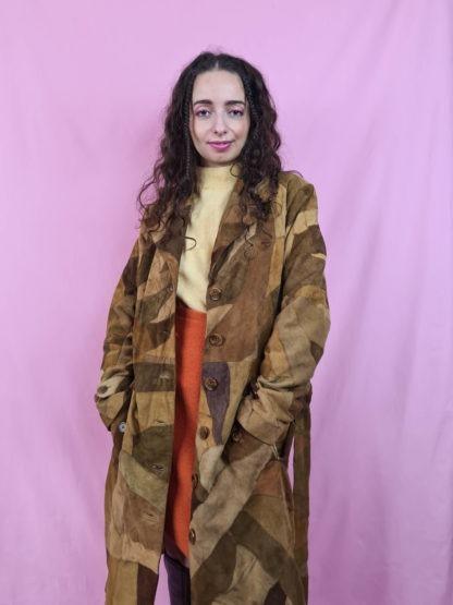 manteau en daim marron patchwork (3)