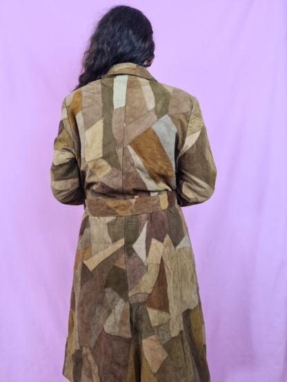 manteau en daim marron patchwork (4)