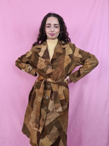 manteau en daim marron patchwork (6)