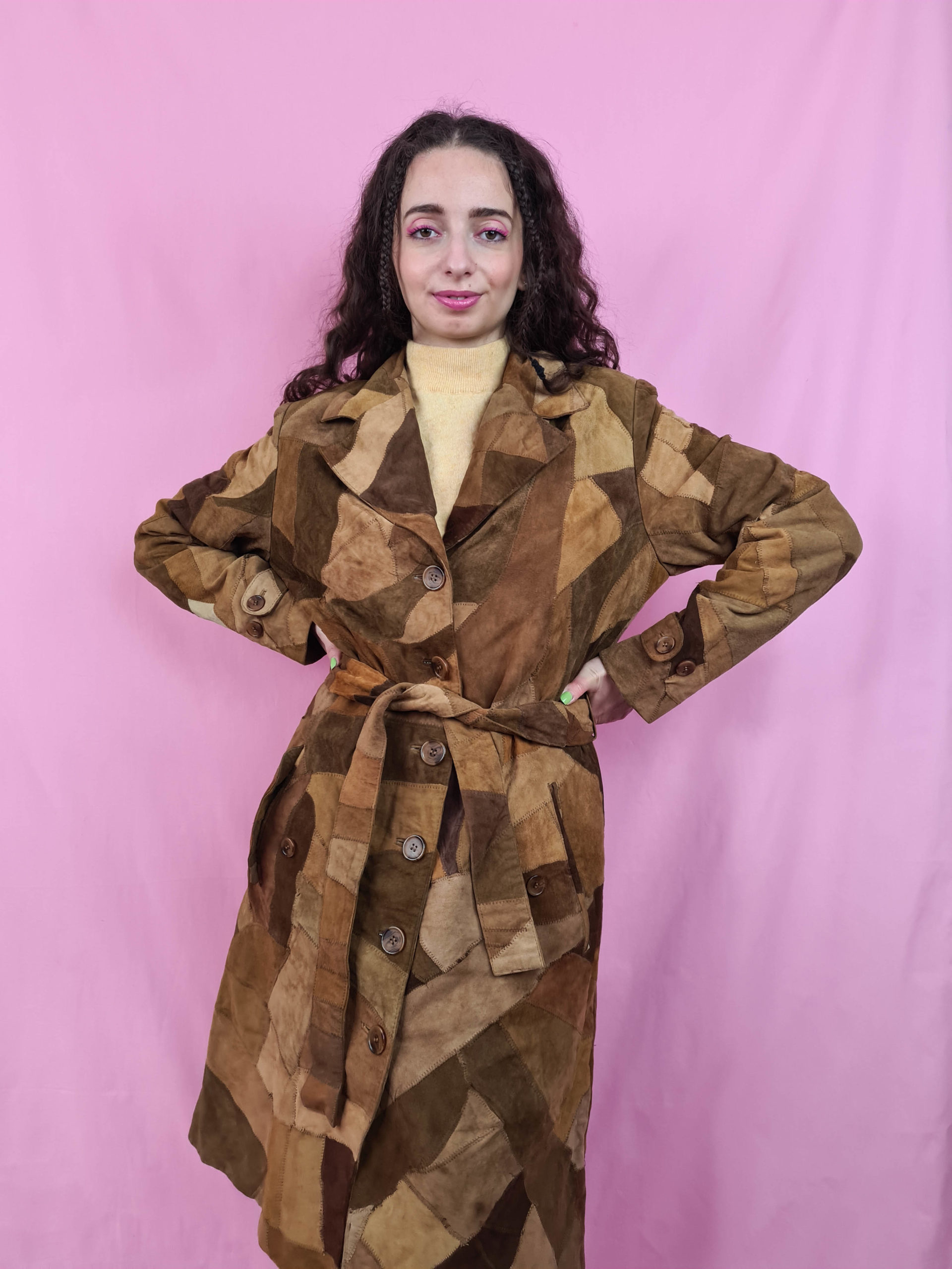 manteau en daim marron patchwork (6)
