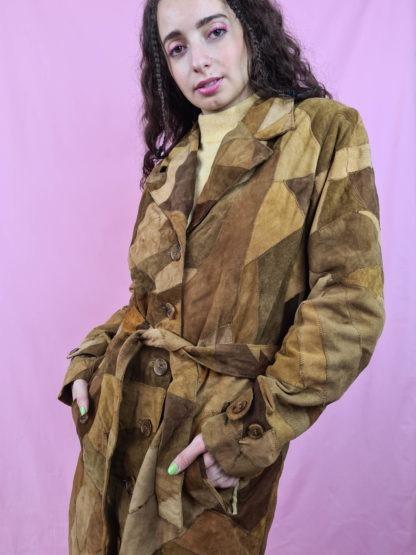 manteau en daim marron patchwork (8)