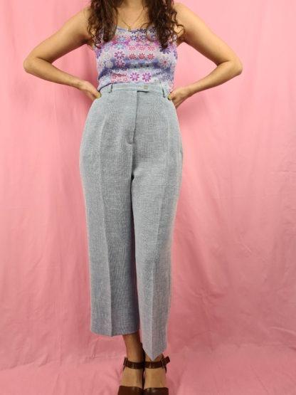 pantalon à pince bleu pastel chiné (1)