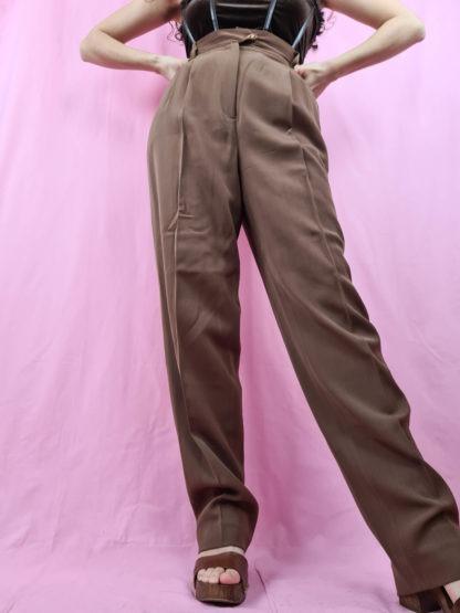 pantalon à pince marron (2)