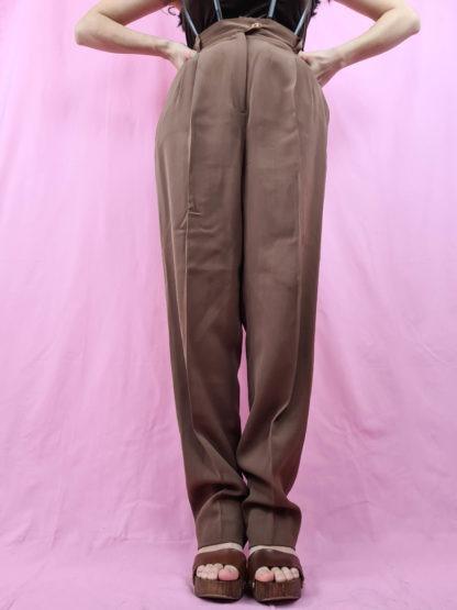 pantalon à pince marron (3)