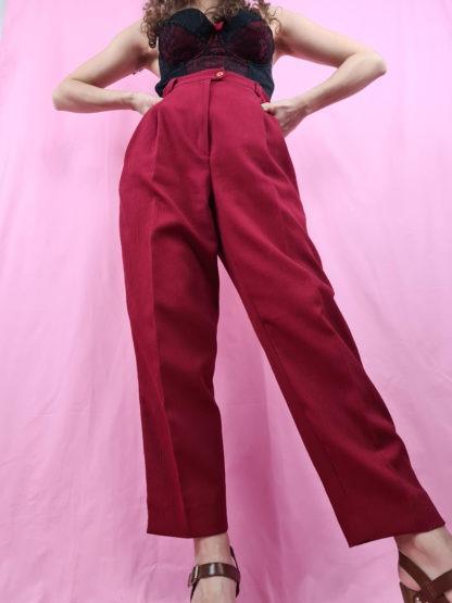pantalon à pince rouge foncé (4)
