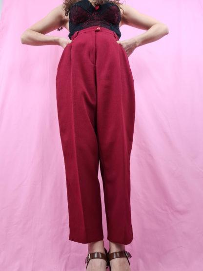 pantalon à pince rouge foncé (5)