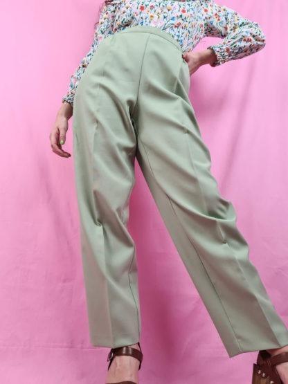 pantalon à pince vert anis (1)