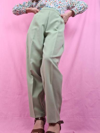pantalon à pince vert anis (5)