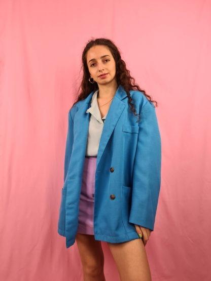 veste blazer vintage bleue turquoise (3)