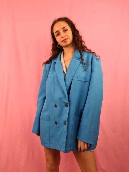 veste blazer vintage bleue turquoise (4)