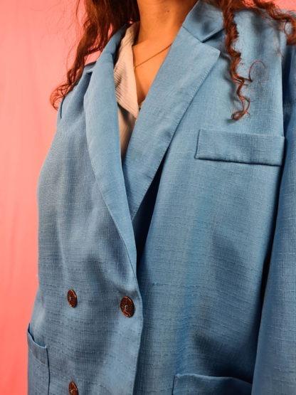 veste blazer vintage bleue turquoise (5)