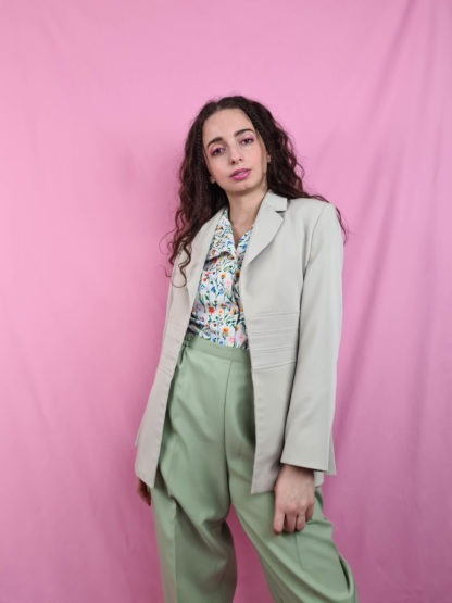 veste vert anis vintage mi-longue (1)