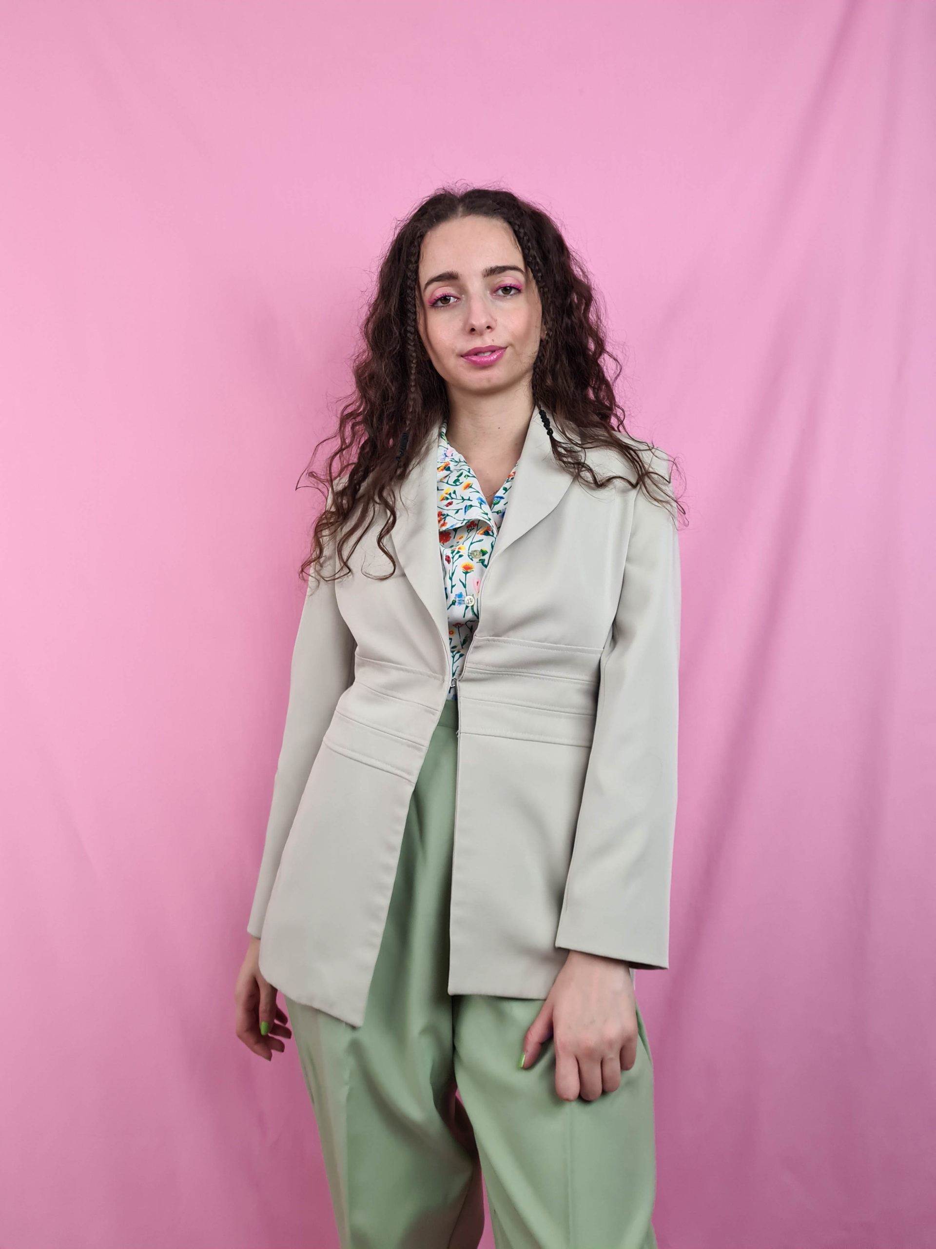 veste vert anis vintage mi-longue (3)