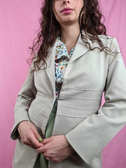 veste vert anis vintage mi-longue (4)