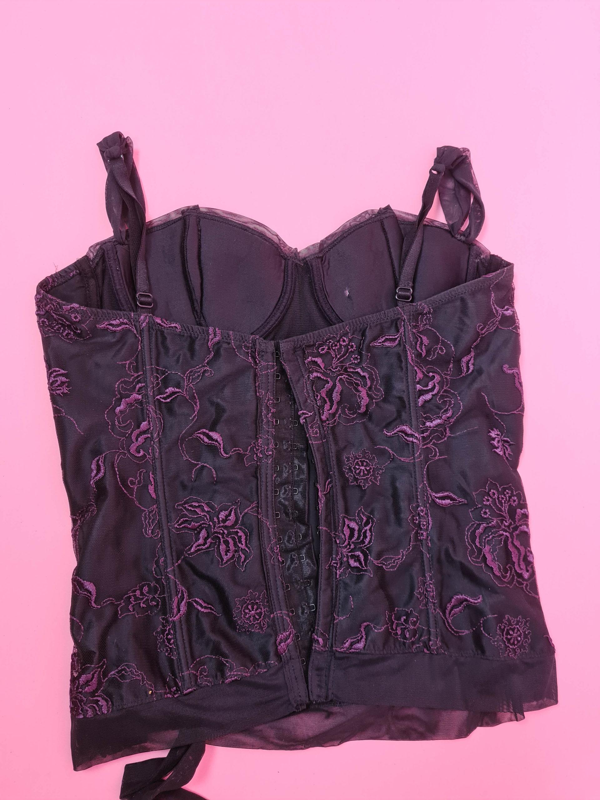 bustier noir à dentelle violette (9)