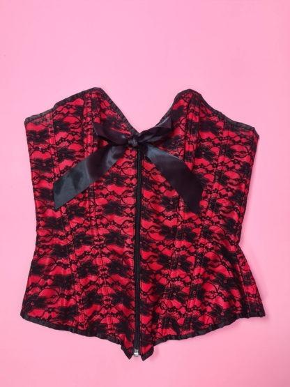 bustier rouge dentelle noire fleurie (12)