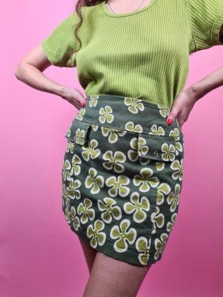jupe verte motif fleuri 70s (3)