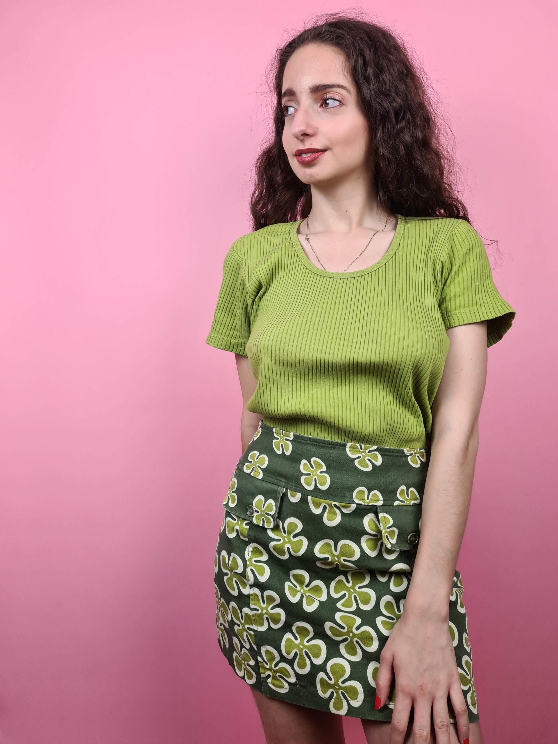 jupe verte motif fleuri 70s (7)