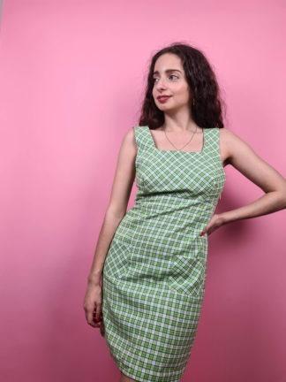 robe blanche à carreaux verts bleus (2)