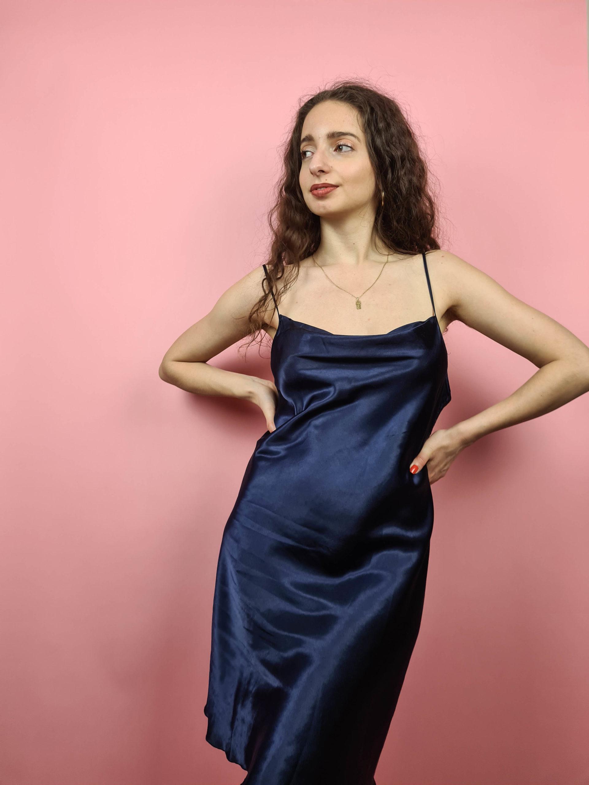 robe nuisette bleu marine col bénitier (10)