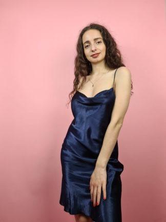 robe nuisette bleu marine col bénitier (12)