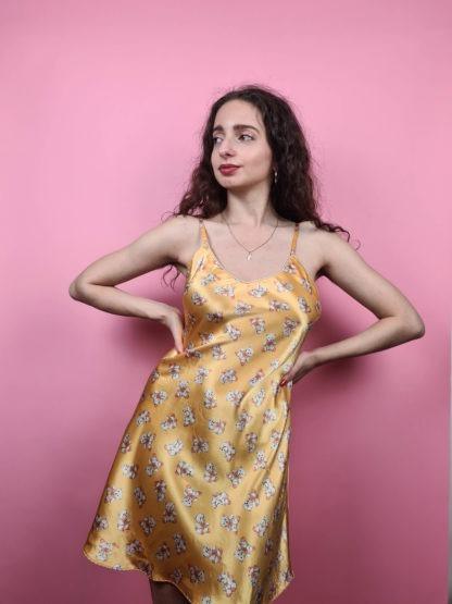 robe nuisette jaune à motif ourson (1)